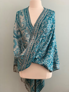 273 Turquoise and Grey Pashmina Tiffany Cape