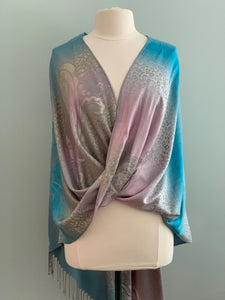 276 Turquoise and Pink Pashmina Tiffany Cape