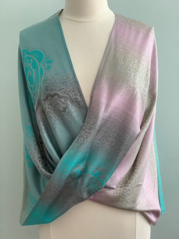 291 Green, Pink, Beige Pashmina Tiffany Cape