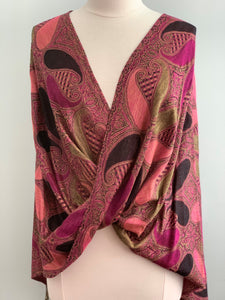 295 Black, Raspberry and Pink Pashmina Tiffany Cape