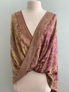Beige and Mauve Pashmina Tiffany Cape 296