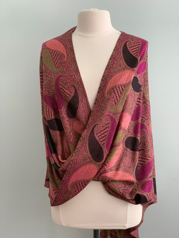 Pink and Green Pashmina Tiffany Cape 306