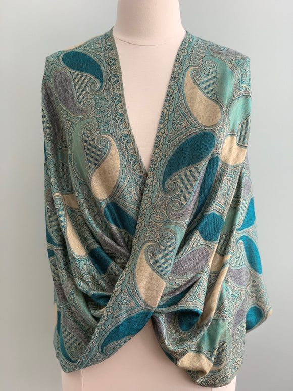 307 Teal and Green Pashmina Tiffany Cape