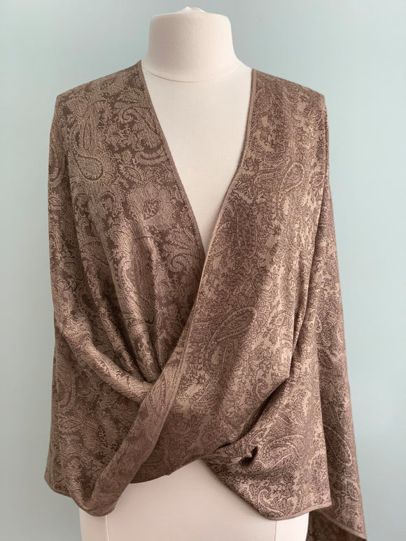 372 Brown and Taupe Pashmina Tiffany Cape
