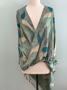 405 Blue and Beige Pashmina Tiffany Cape