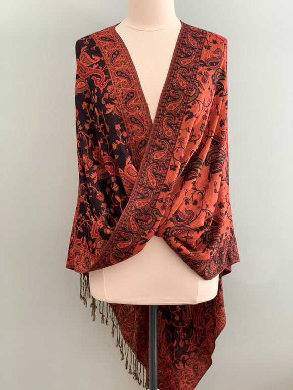 502 Black and Tangerine Tiffany Cape
