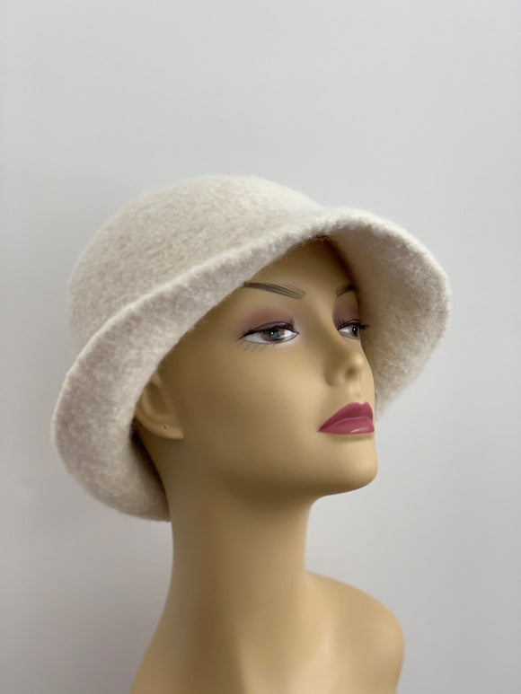 white felted wool winter hat