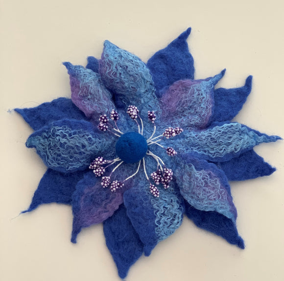wet felted blue flower brooch