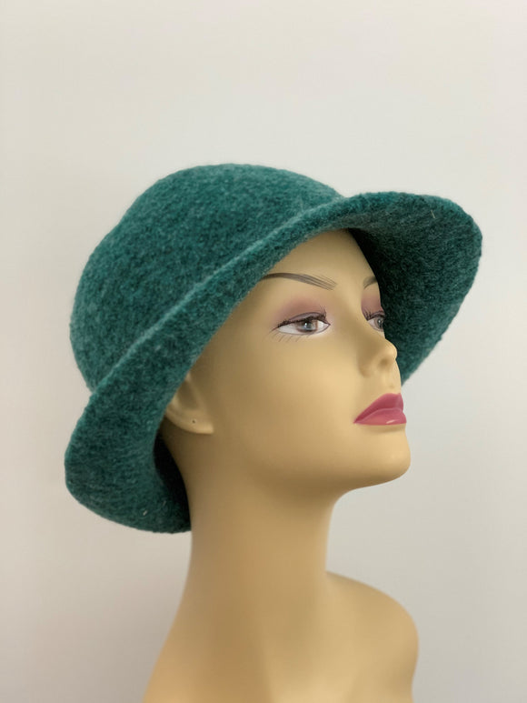 large green winter wool hat