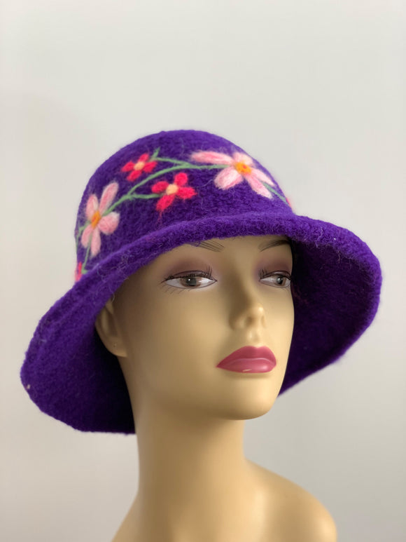 needle felted flowers on hat