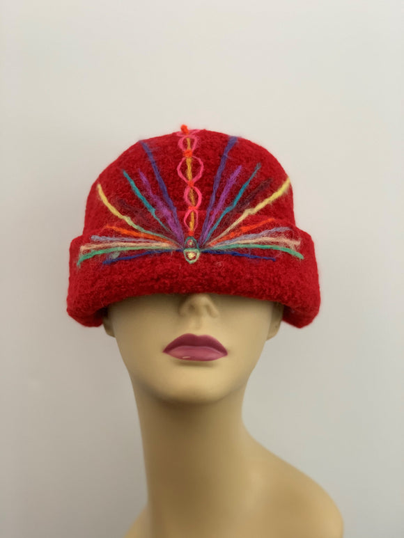 red wool cloche