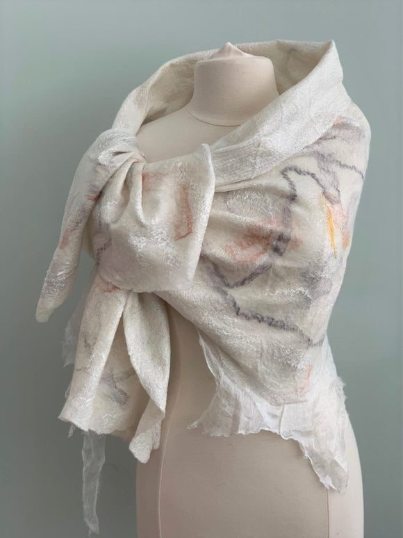227 Shawl White, Beige, Grey, and Gold Shawl