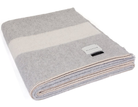 Linen Way - Montreal Baby Alpaca Throw - Pale Grey Herringbone