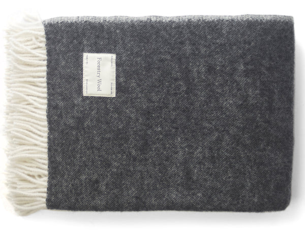 Lambswool Blanket Graphite Cream | Forestry Wool