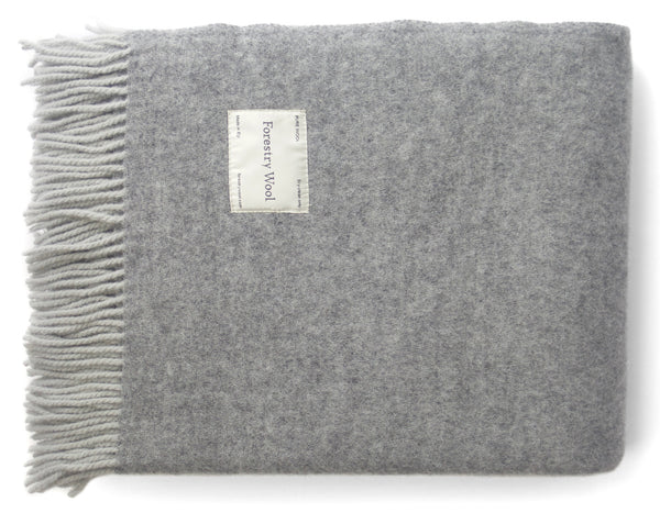 Duo 100% Lambswool Blanket Grey | Forestry Wool