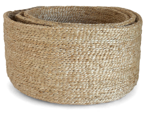 J'Jute -Maya Large Wide Basket - Onyx