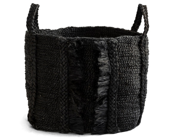J'Jute - Bazar Medium Wide Fringe Basket - Desert Black