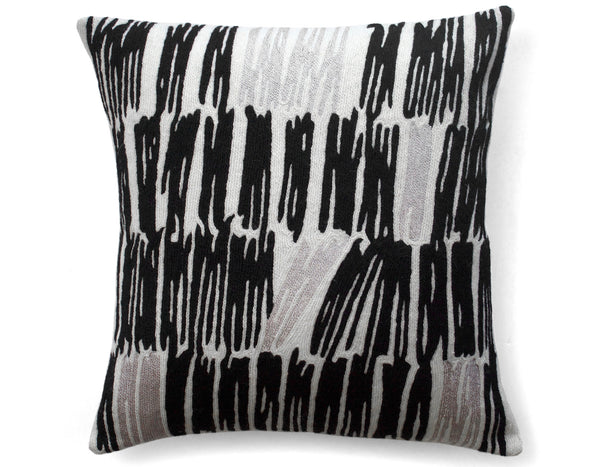 Static Embroidered Cushion Cream Black | Judy Ross