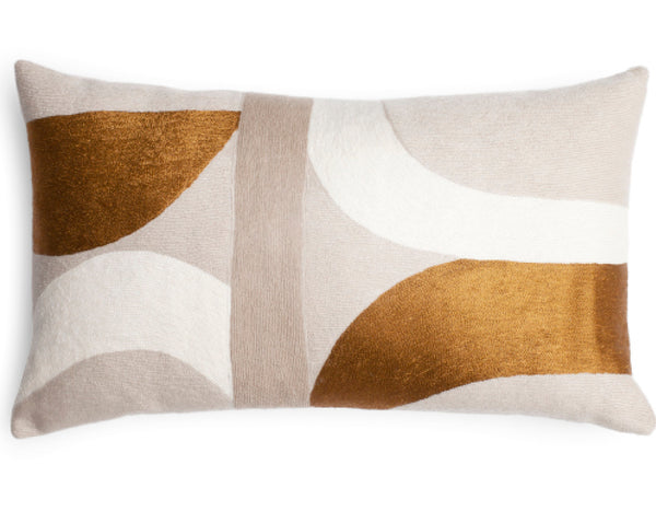 "Judy Ross Textiles - Eclipse 14"" x 24"" - Oyster/Cream/Gold Rayon/Smoke"