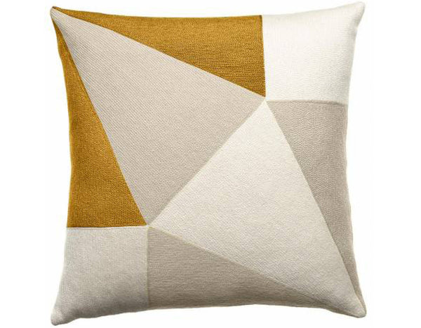 Prism Embroidered Cushion Creme Gold | Judy Ross