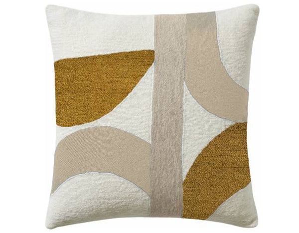 Eclipse Embroidered Cushion Creme Gold | Judy Ross