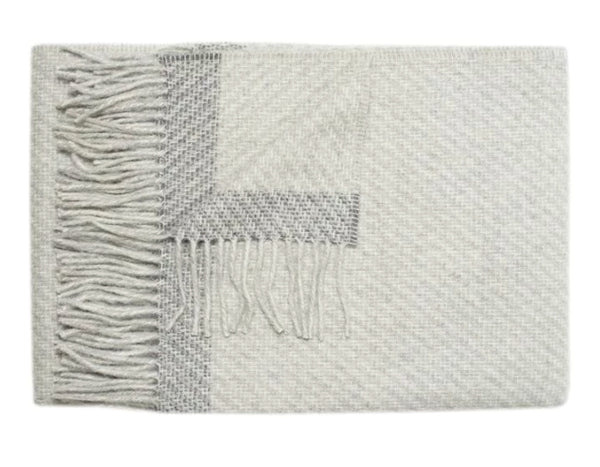 Linen Way - Kilarney Throw - Light Grey w/ Charcoal Stripe