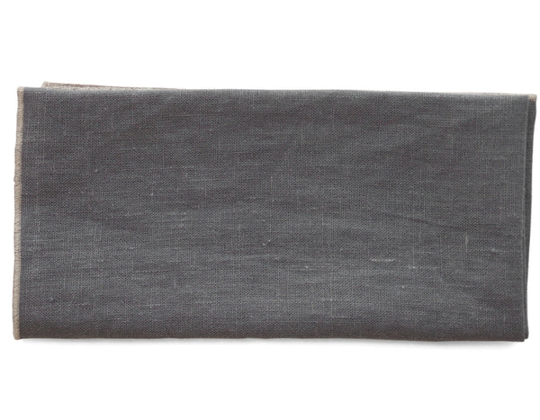 Linen Way - Duet Napkin - Grey w/ Flax Stitch