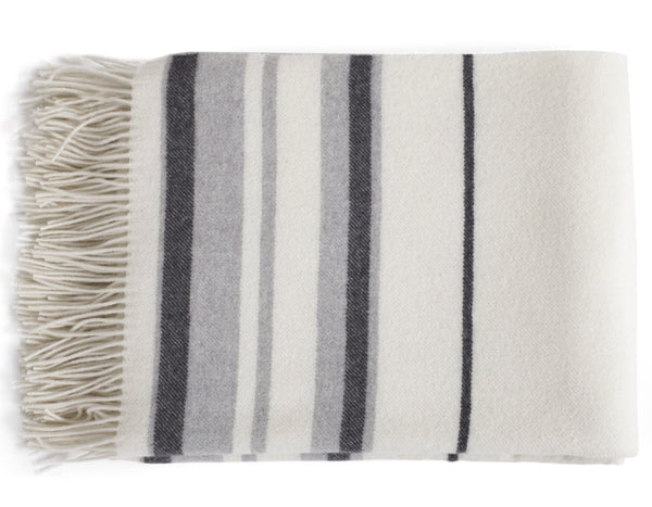 Linen Way - Soho Throw - Ivory w/Thin Charcoal & Light Grey Stripes