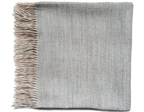 Linen Way - Delphi Baby Alpaca Throw - Dark Grey & Oatmeal