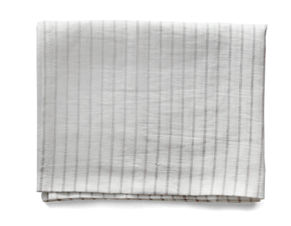 Linen Way - Arman Tea Towel - Ivory w/ Smoke Stripe