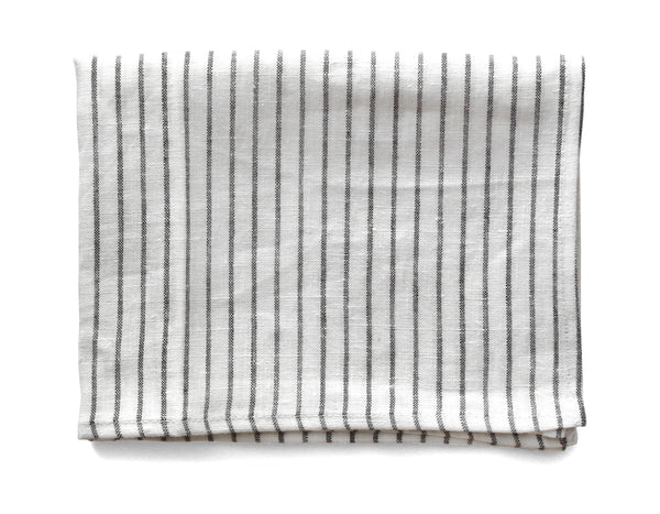 Linen Way - Arman Tea Towel - White w/ Graphite Stripe