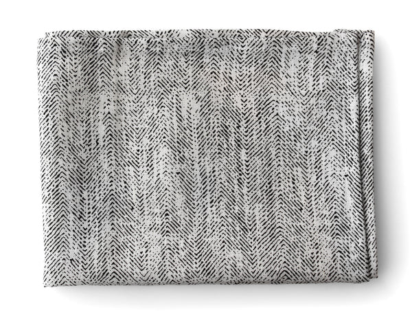 Linen Way - Ricardo Tea Towel - White w/Charcoal Herringbone