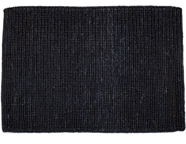 Provide Rugs - Skinny Braided Jute Doormat - Black