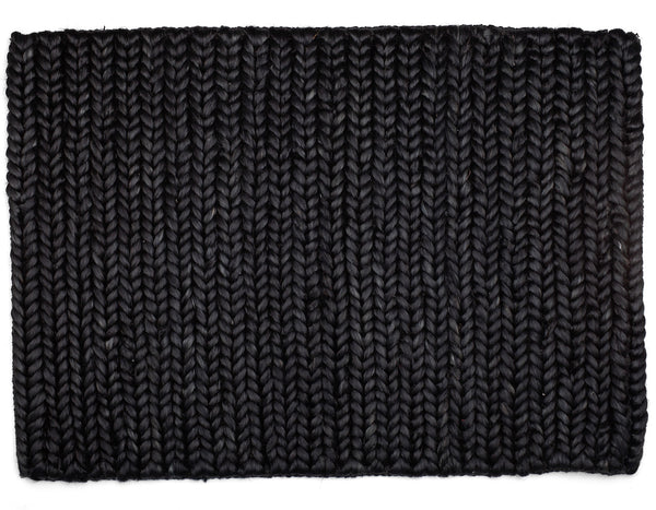 Provide Rugs - Chunky Braided Jute Doormat - Black