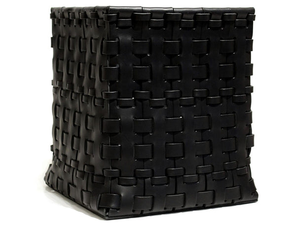 Square Leather Woven Basket in Black | Oscar Maschera