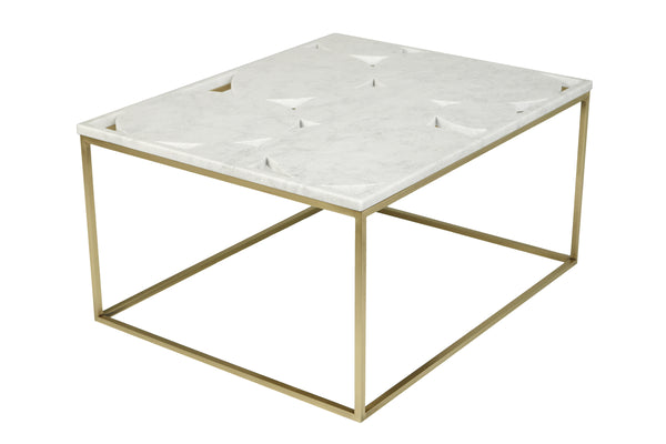 Quake - Qualicum Series Coffee Table - White Marble & Brass Base