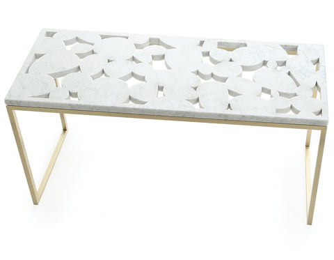 Quake - Qualicum Coffee Table - White Marble & Brass Base