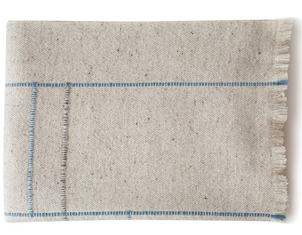 TEIXIDORS - Apt Throw - Natural/Blue Edge