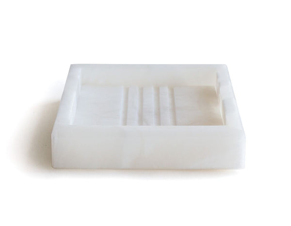 Pitti Square Soap Dish in Alabaster | Room