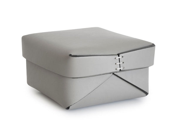 Square Leather Box 3 in Grey | Oscar Maschera