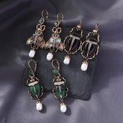 Beetle Drop Insect Earrings