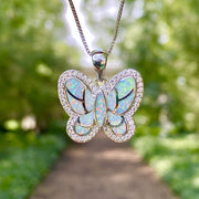 White Opal Butterfly Necklace