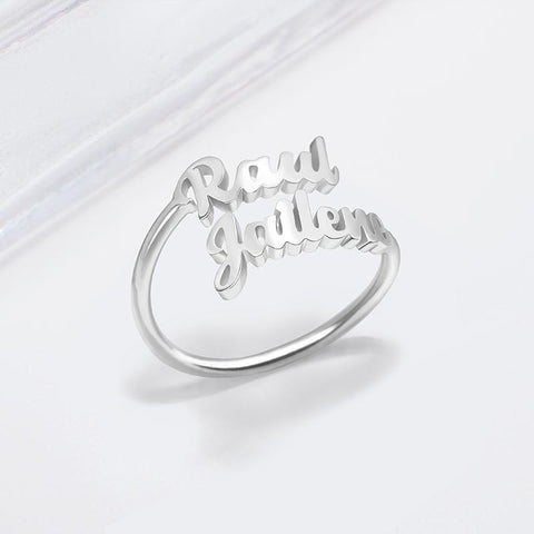 Double Name Ring • Two Name Ring-Personalized Gift For Mom (Best Friend Gift) JUST FOR U