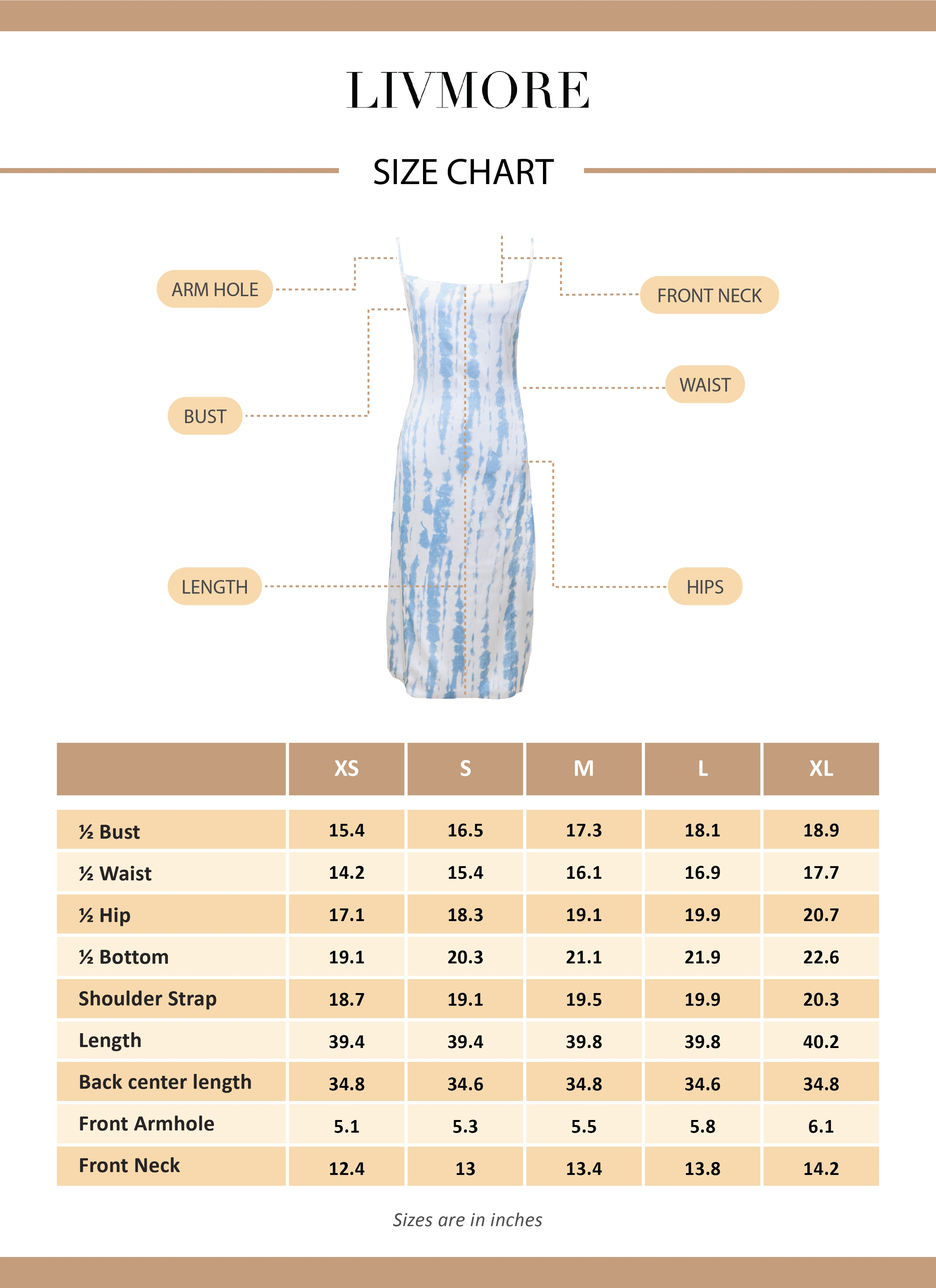 blue long dress size chart