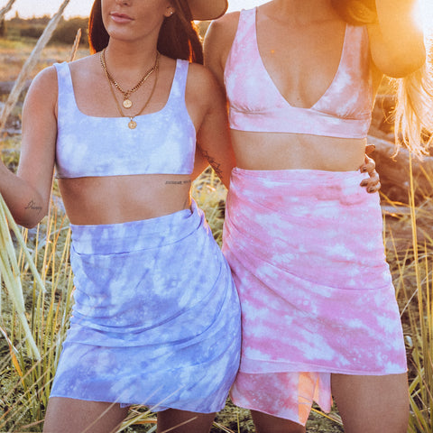 Tie dye matching swimsuits