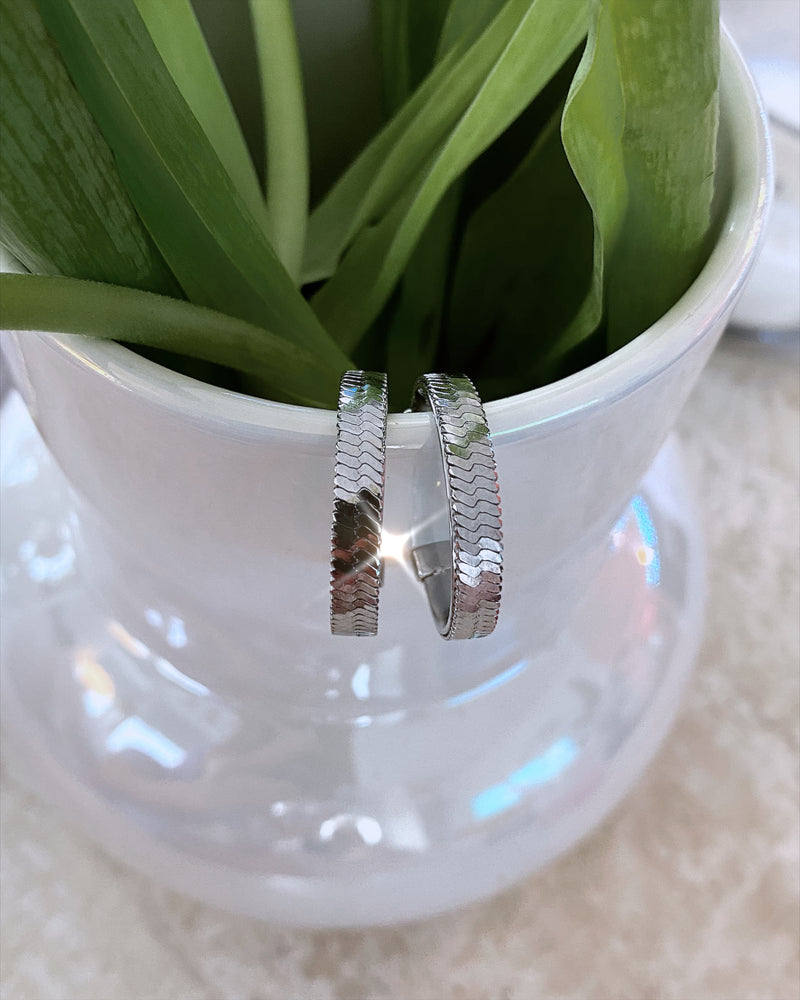 Silver Snake Chain Hoop Earrings