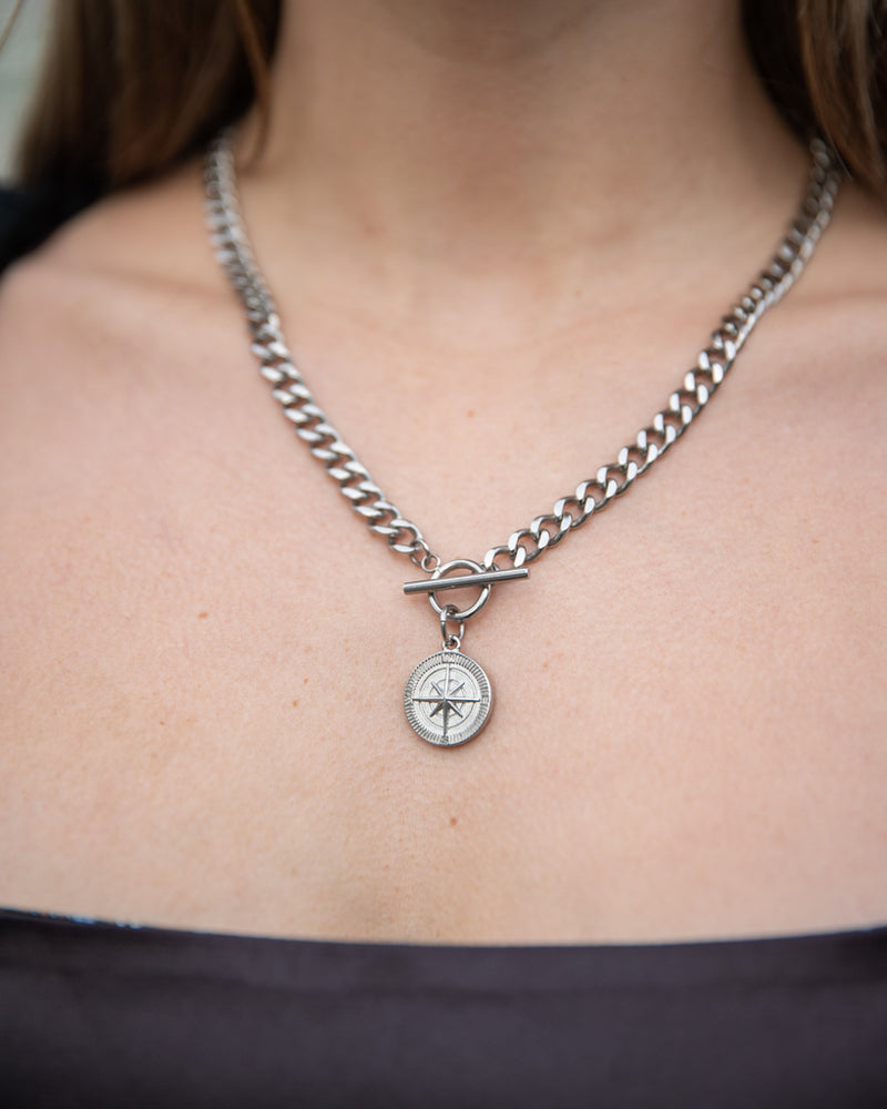 Silver Compass T-Bar Necklace