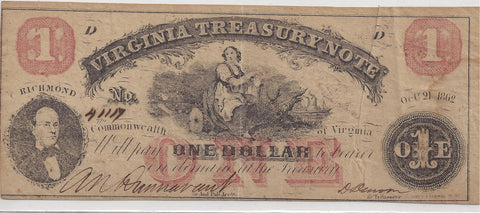 Virginia $1 Note October 21st 1862