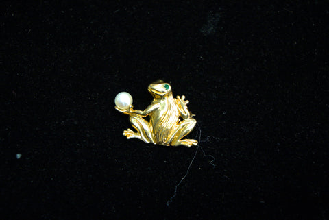 Gold Frog Pin with Pearl and Emerald