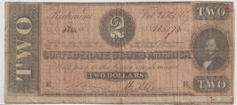 Confederate States $2 Richmond Virginian, February 17th 1864